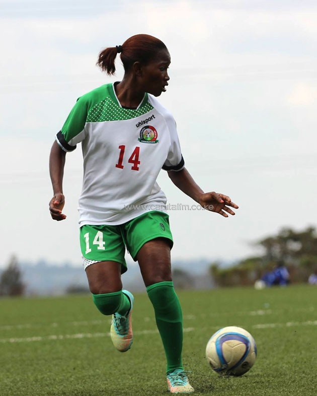 Harambee Starlets forward Esse Akida controls the ball in a CECAFA women's championship match against Burundi on September 13 in Jinja, Uganda. PHOTO/COURTESY