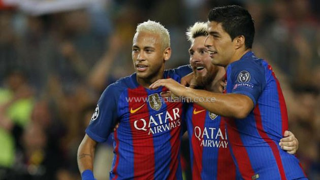 Neymar, Lionel Messi and Luis Suarez celebrate the demolition of Celtic FC in a UEFA Champions League match on September 13, 2016. PHOTO/YAHOO