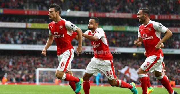 Laurent Koscielny celebrating Arsenal equaliser.