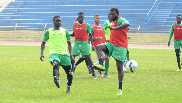Gor Mahia captain Musa Mohammed vies for the ball with team mate Enock Agwanda during a training session at the Nyayo Stadium on September 23, 2016. PHOTO/TIMOTHY OLOBULU