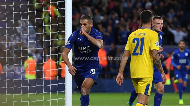 Islam Slimani celebrates after scoring for Leicester.PHOTO/courtesy