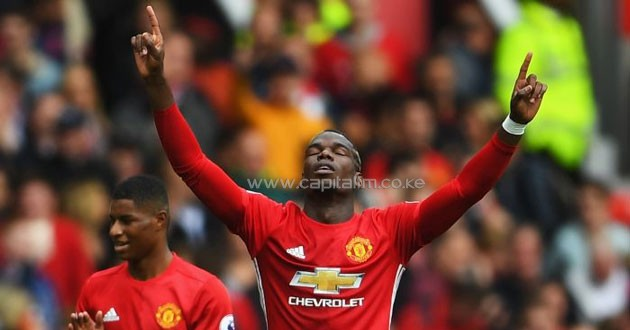 Paul Pogba: Scored the Red Devils' fourth goal in their 4-1 win over defending champions Leicester City. PHOTO/courtesy