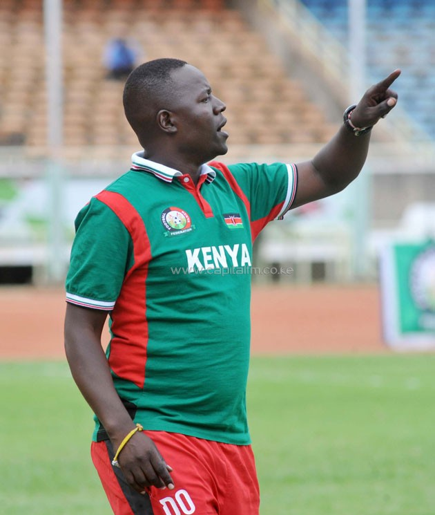 Harambee Starlets head coach David Ouma shouts instructions from the touchline during the team's friendly match against Egypt on October 28 in Nairobi. PHOTO/Raymond Makhaya