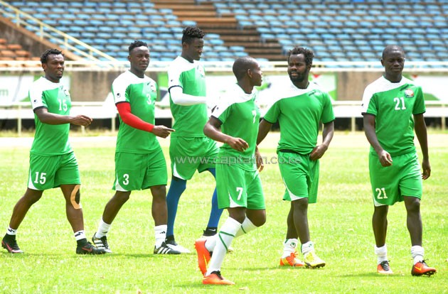 Harambee Stars players during a training session at the Moi Sports Centre Kasarani on November 11, 2016. PHOTO/Raymond Makhaya