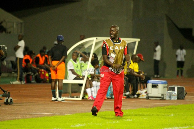 Harambee Starlets head coach David Ouma reacts during the match against Ghana in Limbe. PHOTO/CAF