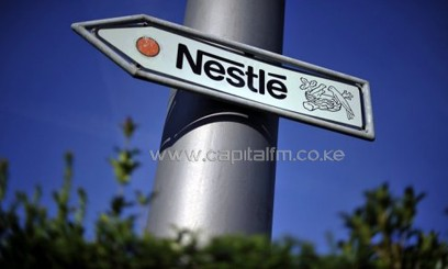 Nestle's logo on a road sign near the company headquarters/AFP