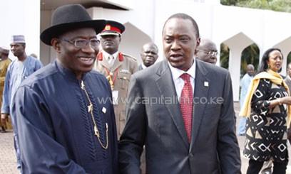 President Uhuru Kenyatta with his Nigerian counterpart President Goodluck Jonathan at Aso Rock Presidential Villa, Abuja, Nigeria where they held bilateral talks/PSCU