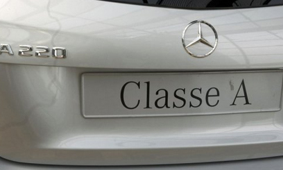 The rear of a Class A220 Mercedes car is pictured at a car dealer in Rueil-Malmaison, outside Paris on August 22,2013/AFP