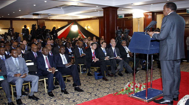 President Uhuru Kenyatta addressing delegates during the High Level Conference on Kenya's Economic Success, Prospects and Challenges. Photo/ PSCU