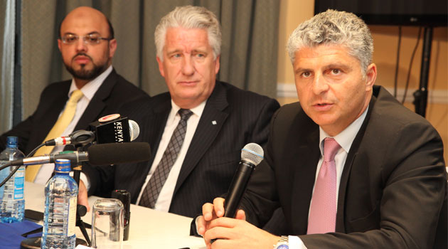 Marwan Shehadeh (right), the Group Director for Corporate Development at Al-Futtaim group addresses a past press conference in Nairobi. Looking on are Yasser Alvi (left), General Manager for Investments & Acquisitions and Len Hunt (centre), President Automotive. Photo/ COURTESY