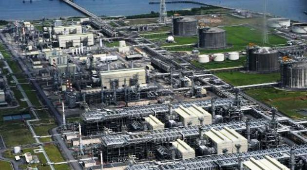 Aerial view of the liquefied natural gas plant at Bonny Island in Nigeria's Rivers State on March 22, 2013/AFP