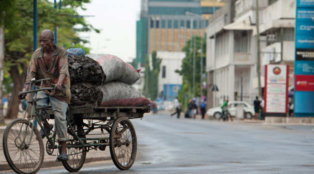 A file picture taken on April 27, 2014 shows a man transporting charcoal down Sokoine Drive along the harbour front in downtown Dar es Salaam/AFP