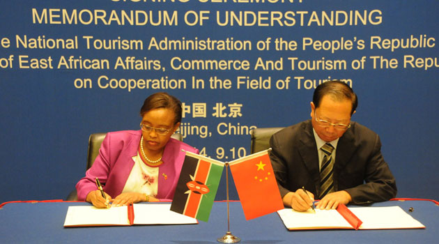 The deal was signed between EAC, Commerce & Tourism C.S. Phyllis Kandie & the Deputy Chairman of the China Tourism Administration, Mr Wang Sifa/CFM