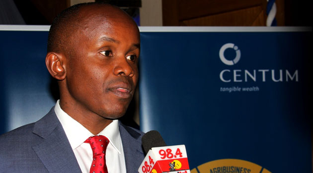 Centum CEO James Mworia gives a brief on the 160pc jump in profit. Photo/ MIKE KARIUKI