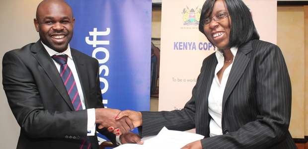 Microsoft Kenya country manager, Kunle Awosika shake hands with Kenya Copyright Board Executive director Dr. Marisella Ouma after the signing of memorandum of understanding between Microsoft and Kenya Copyright Board Photo: CIO