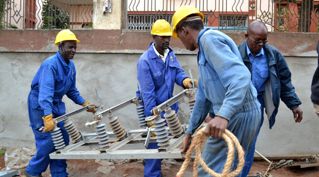 Kenya Power workers laying infrastructure. Photo/ FILE