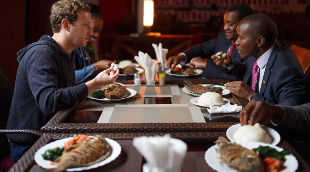 Mark Zuckerberg having lunch in Nairobi with Joseph Mucheru, the Kenyan Cabinet Secretary of Information and Communications/COURTESY