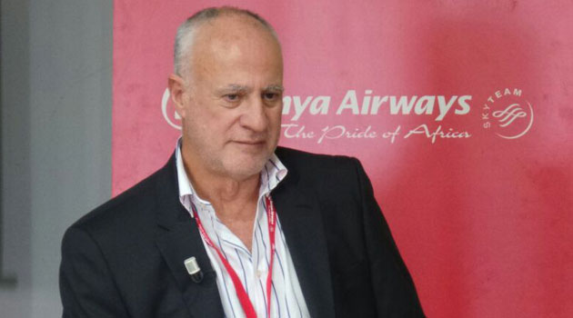 Kenya Airways Chairman Michael Joseph briefing the press on Friday/MOSES MUOKI