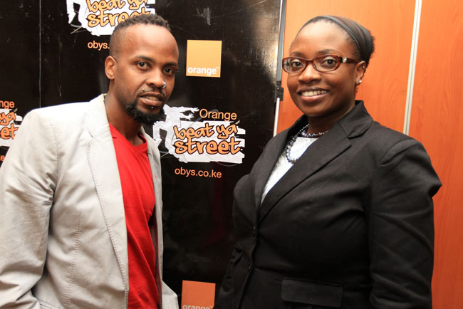 Boneless Thyaga poses for a photo with Orange's  Maureen Sande