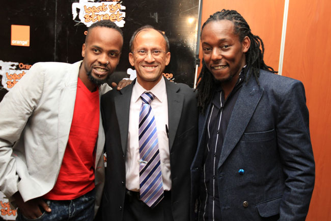 Contest judge Boneless Thyaga, Ian Fernandes and Moses Odhiambo