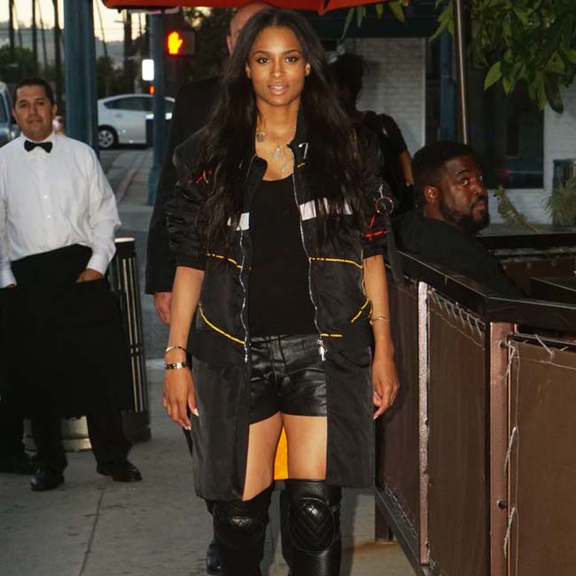Singer Ciara goes to Crustacean in Beverly Hills, CA
