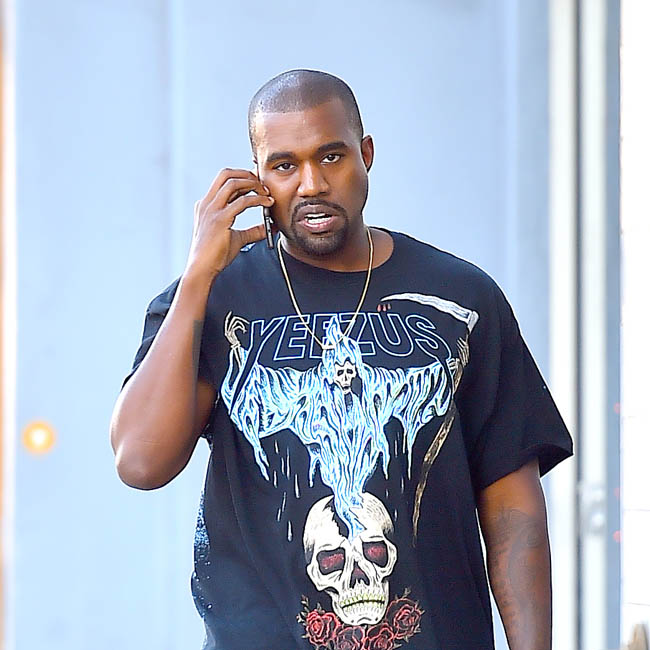Kanye West heads to lunch at Laurel Hardware in West Hollywood wearing a Yeezus shirt