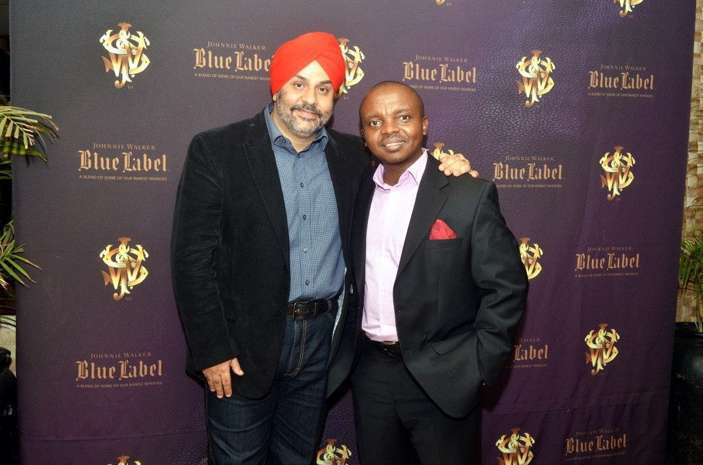 Shailender Singh of Director-Food and Beverage Operations Sarova Hotels (right) and Nicholas Mutinda of EABL pose for a photo during the tasting of Johnnie Walker Blue