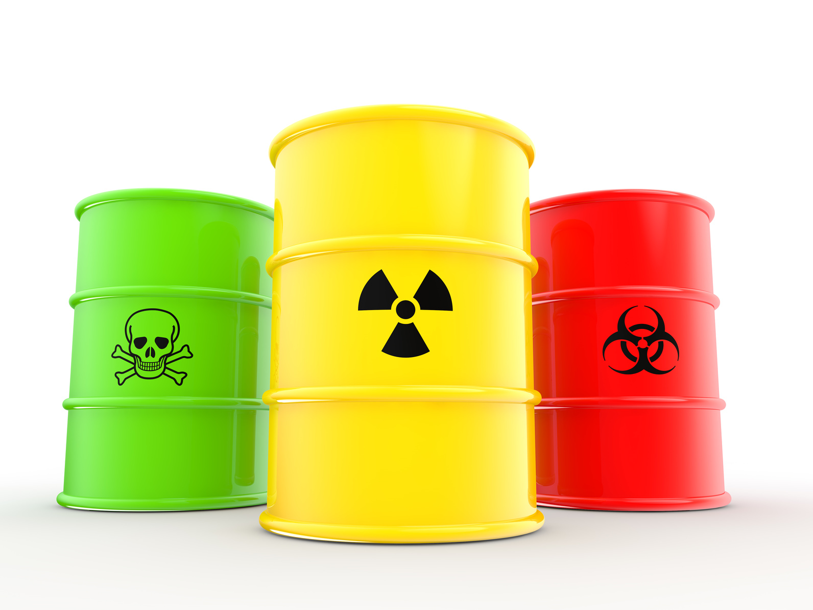 3d barrels with radiations bio hazard and toxic material symbols