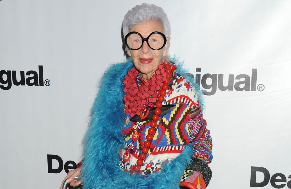 Celebrities front row at Desigual Spring/Summer 2016 Runway Show at New York Fashion Week. Held in The Arc at Skylight Moynihan in NYC Pictured: Iris Apfel Ref: SPL1122089  100915   Picture by: Johns PKI / Splash News Splash News and Pictures Los Angeles:310-821-2666 New York:	212-619-2666 London:	870-934-2666 photodesk@splashnews.com