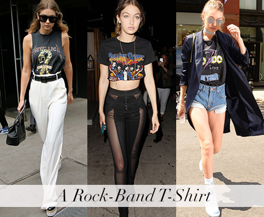 Style Inspiration - Gigi Hadid - Rock band t shirt