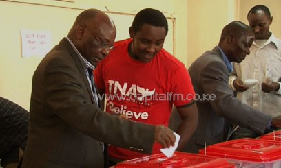 Mbaru who cast his ballot during The National Alliance poll at Moi Avenue Primary, stated that during his tenure he will create opportunities which will enable the youth make use of their entrepreneurial skills/FELIX MAGARA