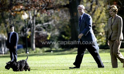 "A fixture throughout the presidential grounds during Bush's 2001-2009 term, Barney had starred in ""Barney Cam"" holiday specials in which he gave a dog's eye view of even the most cold-faced White House staff, alongside his companion Miss Beazley, another black Scottish terrier/AFP"