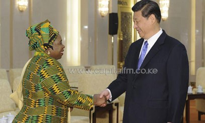 Xi Jinping (R), general secretary of the Communist Party of China (CPC) Central Committee, meets with Nkosazana Dlamini-Zuma, chairperson of the African Union (AU) Commission, at the Great Hall of the People in Beijing, capital of China/XINHUA