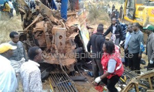 The accident involved a Garissa-bound bus which lost control and rolled several times at about 3am, according to Traffic Commandant Samuel Kimaru/COURTESY KRCS