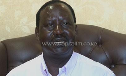 PM Raila Odinga addressed a media briefing at the Wilson Airport. Photo/ FELIX MAGARA