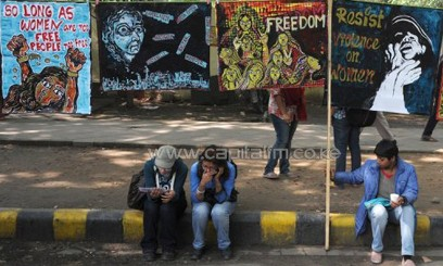 Indian students take part in a protest calling for an end to violence against women/AFP