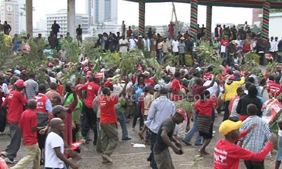 The celebrants waved twigs calling for all Kenyans to accept the presidential results and for peace in the nation/MIKE KARIUKI