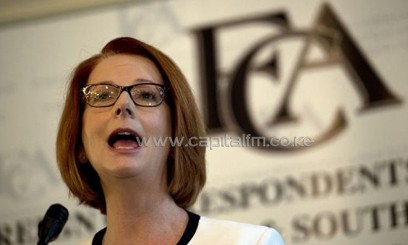 Australian Prime Minister Julia Gillard speaks to the Foreign Correspondents' Association in Sydney/AFP