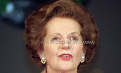 Margaret Thatcher speaks at the National Press Club in Washington in October 1995/AFP