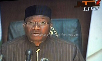 Nigerian President Goodluck Jonathan speaks during a nationwide live broadcast /AFP