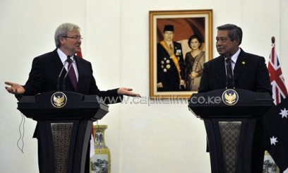 Australia's PM Kevin Rudd (L) and Indonesia's President Susilo Bambang Yudhoyono, pictured in Jakarta, on July 5, 2013/AFP