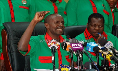 KNUT Chairman Wilson Sossion flanked by Mudzo Nzili at a previous press conference. Photo/ FILE