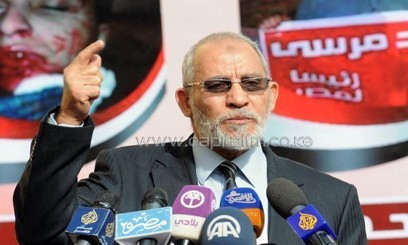 Muslim Brotherhood leader Mohammed Badie speaks during a press conference at the party's headquarters in Cairo on August 8, 2012/AFP