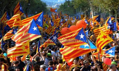 Image taken on September 11, 2012 shows supporters of independence for Catalonia demonstrating in Barcelona/AFP