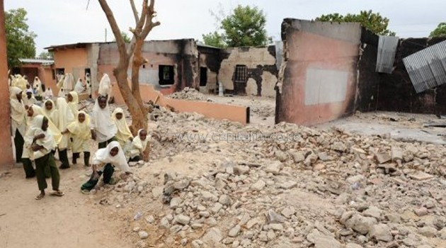 A school in Maiduguri, northeast Nigeria, on May 12, 2012 following an attack by Boko Haram/AFP