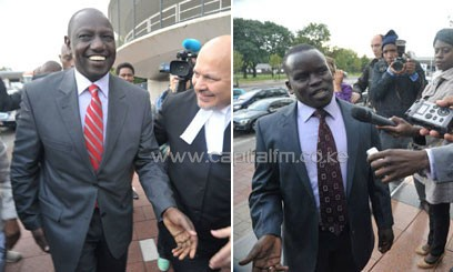 Ruto and Sang in the Hague when they appeared for their tria, in which they have denied Crimes Against Humanity Charges. CFM.