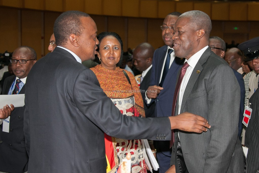 President Uhuru Kenyatta with The Vice-President Ghana, Mr Kwesi Bekoe Amissah-Arthur after the closing ceremony of the AU extraordinary summit in Addis Ababa, Ethiopia. Looking on is the Cabinet Secretary for Foreign Affairs, Amina Mohamed/PSCU