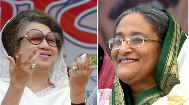 Bangladeshi political leaders Khaleda Zia (L), chairperson of the Bangladesh Nationalist Party (BNP) and chief of the Bangladesh Awami League (AL) Sheikh Hasina Wajed/AFP