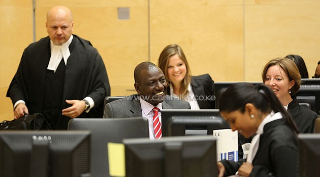 Deputy President William Ruto with his team of lawyers inside the trial chamber. Photo/FILE