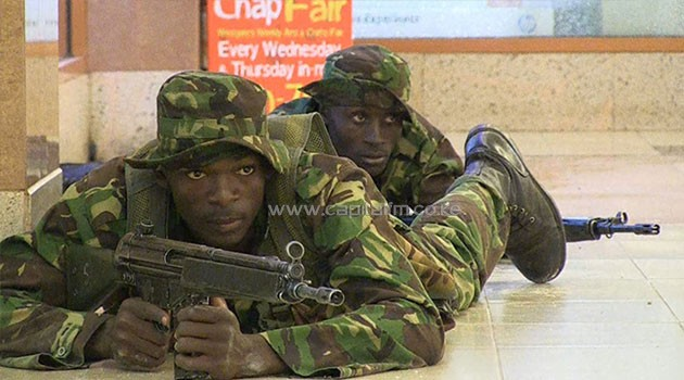 Troops from the Kenya Defence Forces battled with the terrorists for four days. Photo/FILE